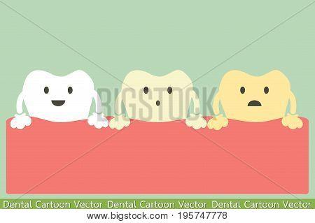 dental cartoon vector - yellow teeth or tooth whitening