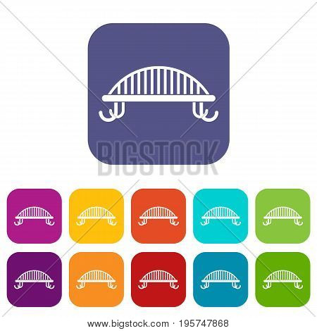Bench with backrest icons set vector illustration in flat style In colors red, blue, green and other