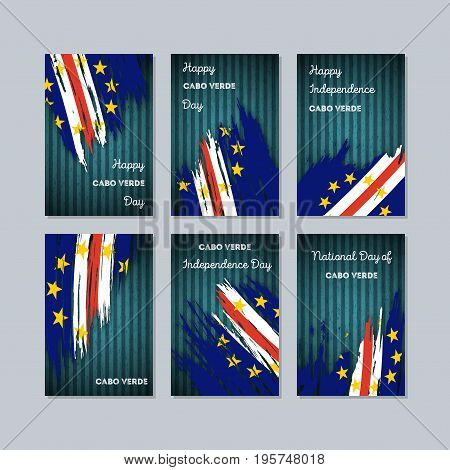 Cabo Verde Patriotic Cards For National Day. Expressive Brush Stroke In National Flag Colors On Dark