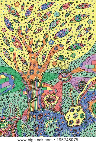 Colorful illustration with surreal landscape - tree flower and sky. Vector zentangle coloring page for adults or kids. Zendoodle vector art. Doodle cartoon fairy tales graphic art.