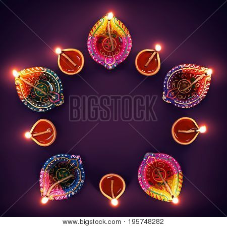 Happy Diwali - Colorful diya lamps in a circle formation