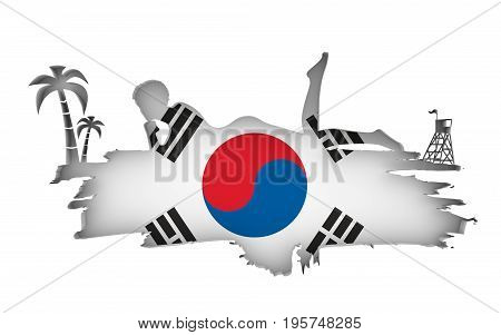 Young woman sunbathing on a beach. Cutout silhouette of the relaxing girl on a grunge brush stroke. Palm and lifeguard tower. Flag of the South Korea on backdrop. 3D rendering.