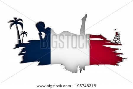 Young woman sunbathing on a beach. Cutout silhouette of the relaxing girl on a grunge brush stroke. Palm and lifeguard tower. Flag of the France on backdrop. 3D rendering.