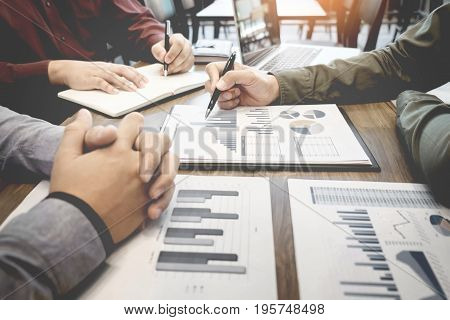 Business Meeting Office. Documents Account Managers Crew Working With New Startup Project Idea Prese