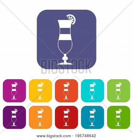 Cocktail icons set vector illustration in flat style In colors red, blue, green and other
