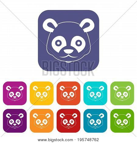 Head of panda icons set vector illustration in flat style In colors red, blue, green and other