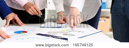 Female Hand Point Finger To Graph