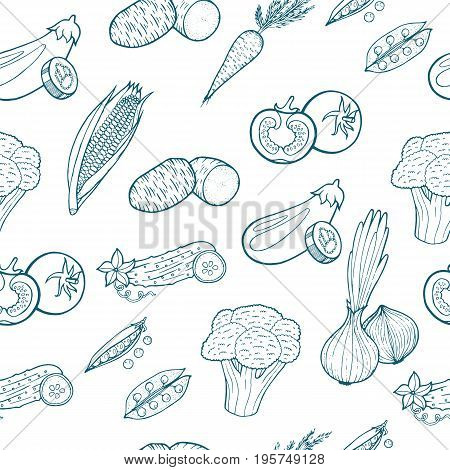 Vegetables food seamless pattern - background for restaurant or web-site about cooking