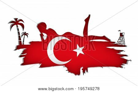 Young woman sunbathing on a beach. Cutout silhouette of the relaxing girl on a grunge brush stroke. Palm and lifeguard tower. Flag of the Turkey on backdrop. 3D rendering.