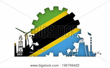 Energy and Power icons set with flag of the Tanzania. Sustainable energy generation and heavy industry. 3D rendering.