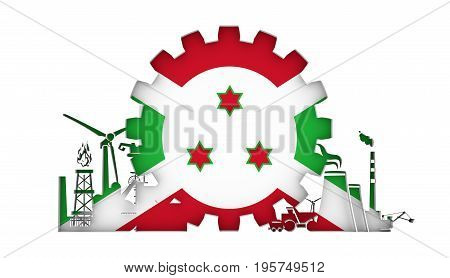 Energy and Power icons set with flag of the Burundi. Sustainable energy generation and heavy industry. 3D rendering.