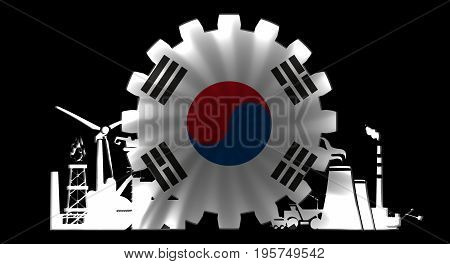 Energy and Power icons set with flag of the South Korea. Sustainable energy generation and heavy industry. 3D rendering. Neon bulb illumination