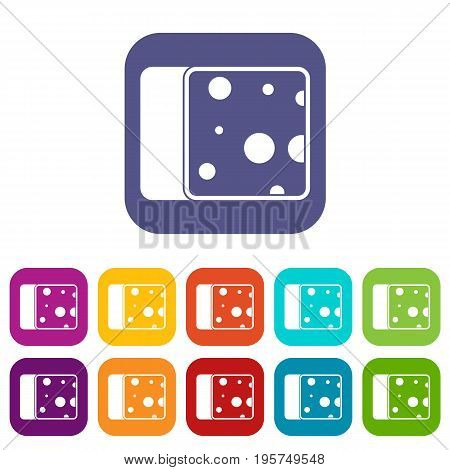 Cheese icons set vector illustration in flat style In colors red, blue, green and other
