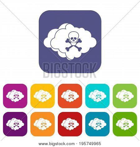 Cloud with skull and bones icons set vector illustration in flat style In colors red, blue, green and other