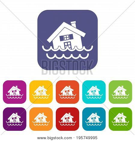 House sinking in a water icons set vector illustration in flat style In colors red, blue, green and other