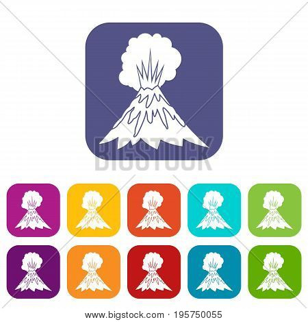 Volcano erupting icons set vector illustration in flat style In colors red, blue, green and other