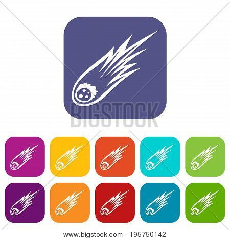 Falling meteor with long tail icons set vector illustration in flat style In colors red, blue, green and other