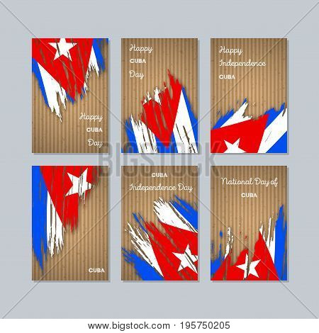 Cuba Patriotic Cards For National Day. Expressive Brush Stroke In National Flag Colors On Kraft Pape