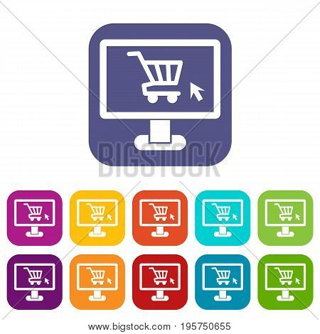 Computer monitor with shopping cart icons set vector illustration in flat style In colors red, blue, green and other