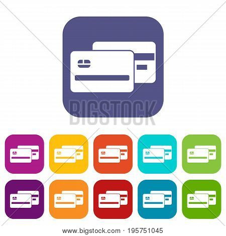 Credit card icons set vector illustration in flat style In colors red, blue, green and other