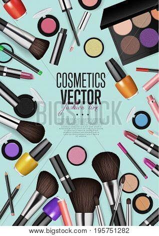 Cosmetics products, fashion makeup banner. Brushes, powder palettes, lipstick, eye pencil, nail polish realistic vector illustrations set on WHITE background. Cosmetics shop, beauty salon