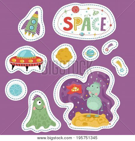 Space cartoon stickers. Rocket, flying saucer, Moon, Saturn, falling star or comet, cute alien characters vector illustrations isolated on violet background. Counters for table games, price tags