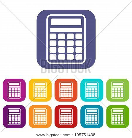 Calculator icons set vector illustration in flat style In colors red, blue, green and other