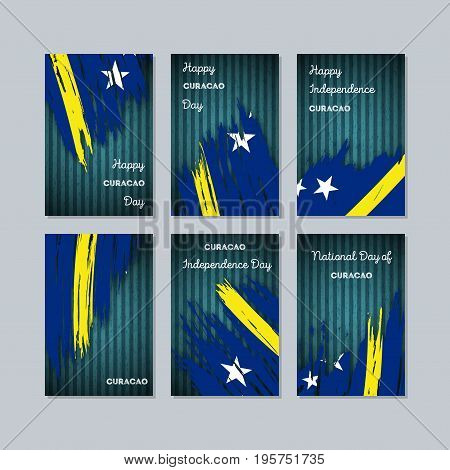 Curacao Patriotic Cards For National Day. Expressive Brush Stroke In National Flag Colors On Dark St