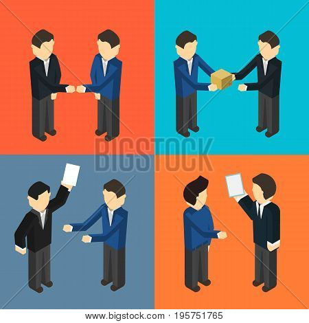 Cooperating delivery managers isometric isolated vector illustration. Delivery managers standing, discussing, handshaking and talking. Logistics management, teamwork and business people concept