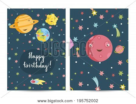 Happy birthday cartoon greeting card on space theme. Smiling Earth, Saturn, Mars planets and Moon surrounded colorful stars and comets vector illustrations. Invitation on childrens costumed party