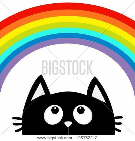 Black cat looking up to big rainbow. Cute cartoon character. Valentines Day. Kawaii animal. Love Greeting card. LGBT flag color sign symbol. Flat design. White background Isolated. Vector illustration