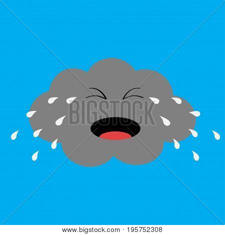 Cute cartoon kawaii cloud with rain drops. Crying sad face emotion. Eyes and mouth. Isolated. Blue sky background. Baby character collection. Funny illustration. Flat design. Vector illustration