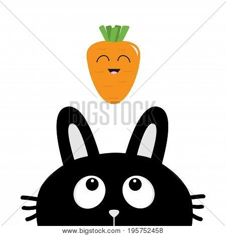 Black rabbit bunny face head silhouette looking up to smiling carrot vegetable. Cute cartoon funny animal character. Baby card. Sticker print template. Flat design. White background. Isolated. Vector