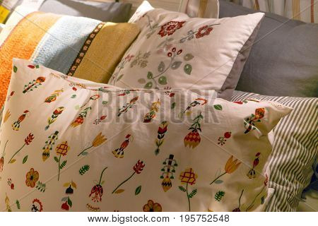 unmade messy bed room with pillows relax morning concept