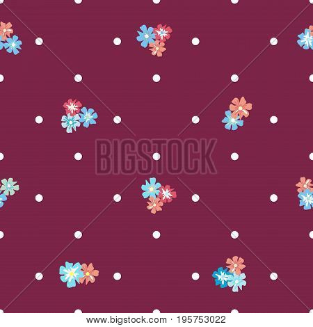 Seamless vintage pattern with flowers and polka dots on a purple background. Country style. Delicate airy texture for textiles, interiors, packaging, print, web design.