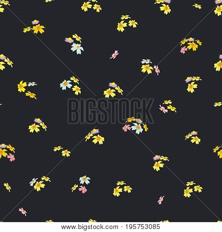 Seamless pattern with small meadow flowers on a dark background. Floral background for textile, gift wrap, covers, print, and various designs. vector