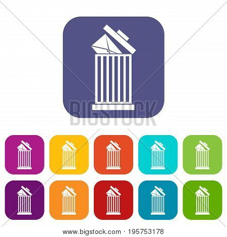 Envelope in trash bin icons set vector illustration in flat style In colors red, blue, green and other