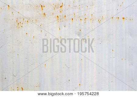White Painted Surface Of Metal Sheet With Traces Of Corrosion. Abstract Background