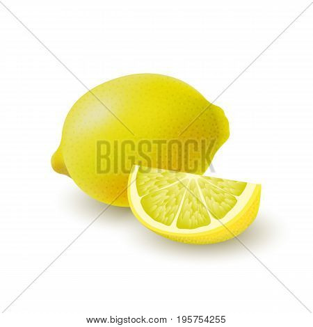 Isolated colored lemons slice and whole juicy fruit with shadow on white background. Realistic group of citrus