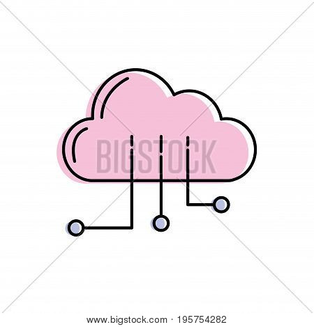 cloud data with circuits to digital connection vector illustration