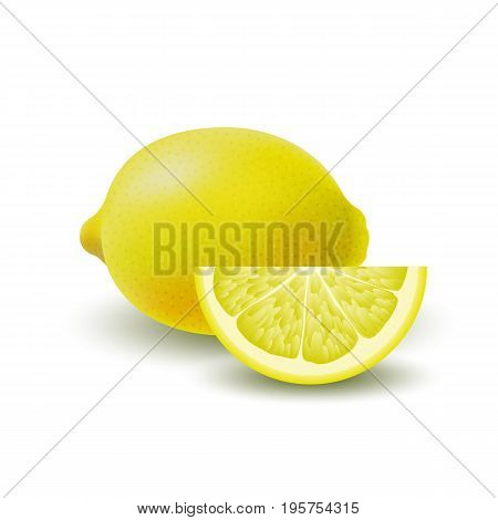 Isolated colored group of lemons slice and whole juicy fruit with shadow on white background. Realistic citrus