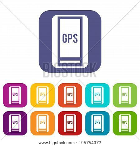 Global Positioning System icons set vector illustration in flat style In colors red, blue, green and other