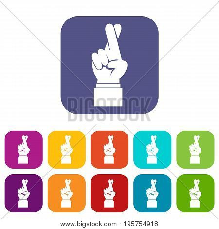 Fingers crossed icons set vector illustration in flat style In colors red, blue, green and other