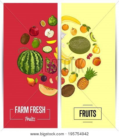 Farm fresh fruit flyers vector illustration. Natural product, juicy fruit, vegetarian delicious nutrition, organic healthy food. Plum, kiwi, persimmon, avocado, banana, peach, watermelon, pomegranate