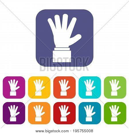 Hand showing five fingers icons set vector illustration in flat style In colors red, blue, green and other