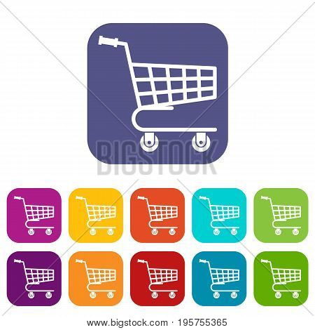 Shopping cart icons set vector illustration in flat style In colors red, blue, green and other