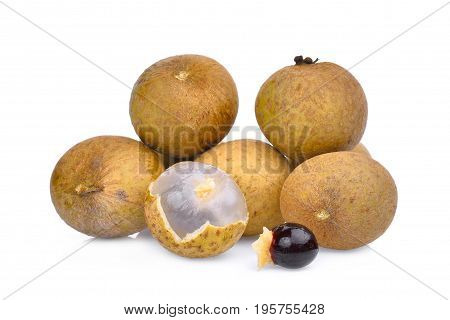 longan tropical fruit isolated on white background