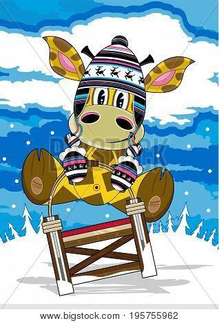 Cute Cartoon Giraffe in Wooly Hat on Sledge
