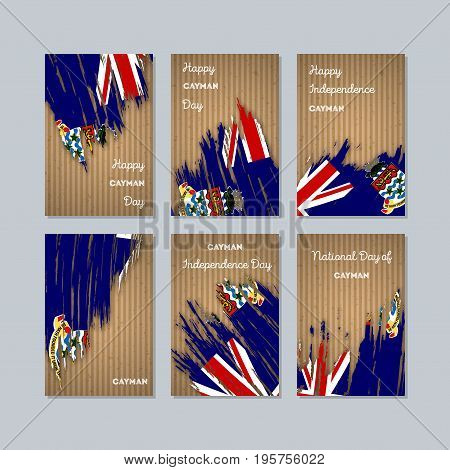 Cayman Patriotic Cards For National Day. Expressive Brush Stroke In National Flag Colors On Kraft Pa