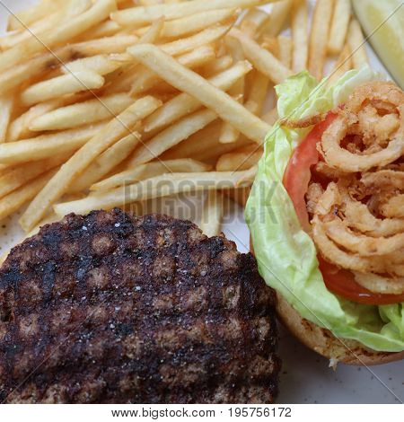 Fresh Hamburger with French Fries in USA